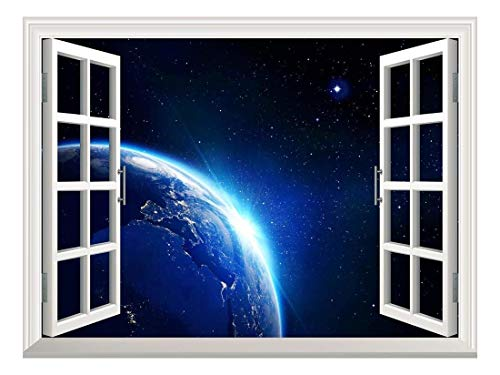 Removable Wall Sticker Wall Mural Earth with Blue Shining in Universe Space Creative Window View Wall Decor
