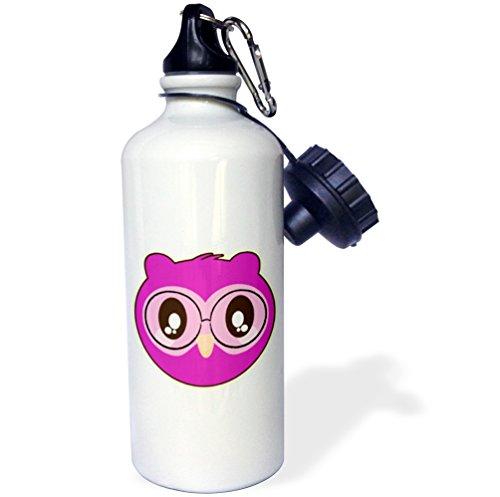 3dRose Dooni Designs - Cute Kawaii Designs - Cute Purple Kawaii Owl Wearing Nerdy Glasses - 21 oz Sports Water Bottle - Nerdy Pictures Of Glasses