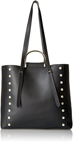 T-Shirt & Jeans Large Ring Bag with Pearls, Black