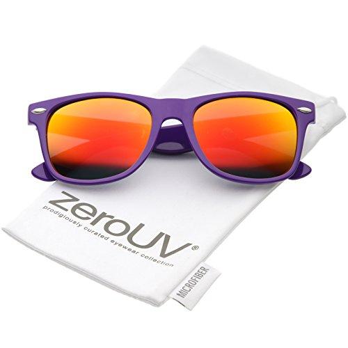 zeroUV - Modern Wide Arms Colored Mirror Square Lens Horn Rimmed Sunglasses 52mm (Purple / Orange - Wayfarer Orange