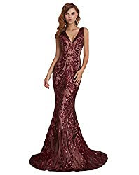 Claret V-Neck Sequin Sleeveless Lace-up Mermaid Dress