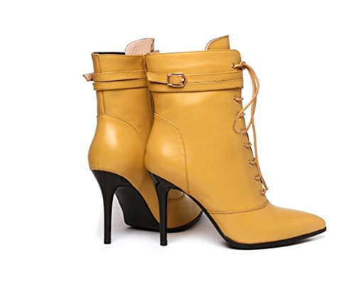 NVXIE Women's Ladies Ankle Boots Stiletto Heel Pointed Leather Martin Black Fall Winter Party YELLOW-EUR42UK85 UjTzqac2q