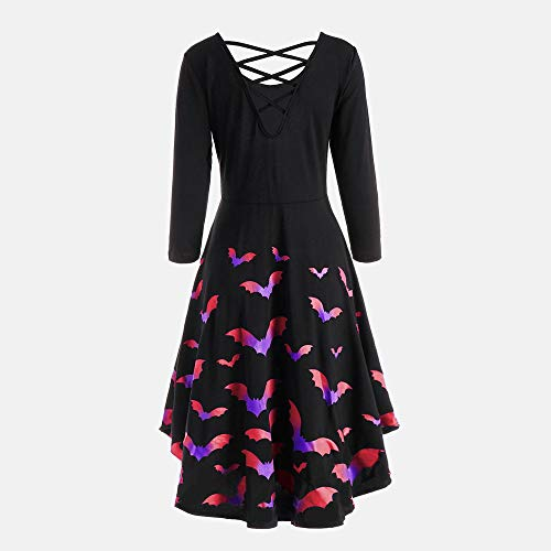 YOCheerful Party Dress Women Long Sleeve Hollow Dress V-Neck Halloween Bat Print Flare Casual Dresses