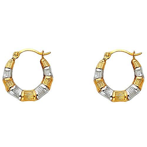 - Solid 14k Yellow White Gold Round Hoops Huggie Fancy Hollow Earrings Diamond Cut Two Tone 15 x 15 mm