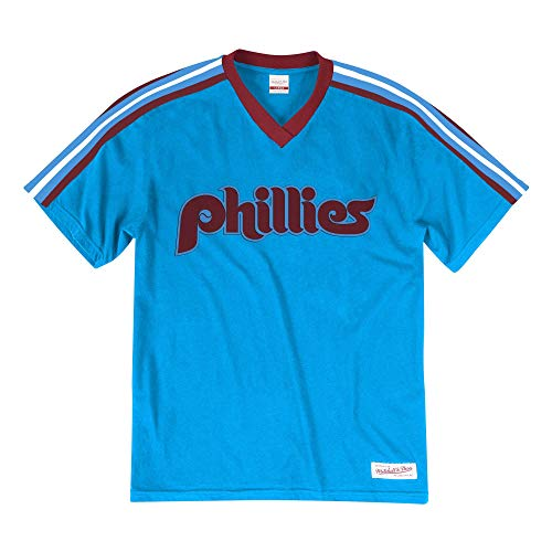 - Mitchell & Ness Philadelphia Phillies Men's Overtime Win Vintage V-Neck T-Shirt Blue (Medium)