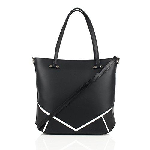 ISOTTA Borsa a spalla Tote Shopper con inseri decorativi e tracolla regolabile pelle liscia nero Envío Libre En Italia n4x91CEV