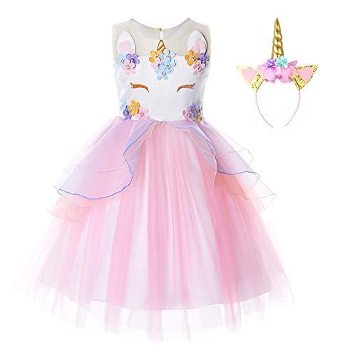 JerrisApparel Bloem Meisjes Eenhoorn Kostuum Prinses Verjaardagsfeest Carnaval Jurk