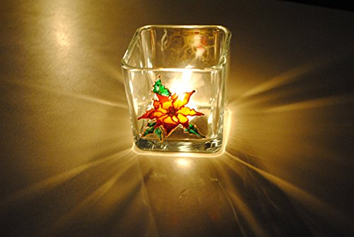 Red Poinsettia Flower Hand Painted Stained Glass Square Candle Holder, Christmas Holiday Decor