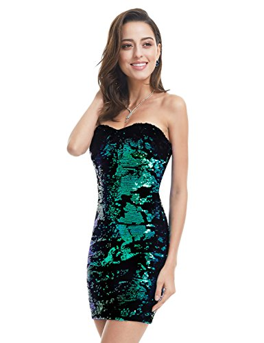Short Multi Color Sequin Dress (Ever-Pretty Womens Strapless Sequins Mini Dress 4 US Multi Color)