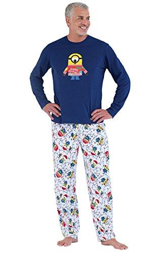 PajamaGram Fun Christmas Pajamas Men - Minion Pajamas, Cotton/Fleece, Blue, -