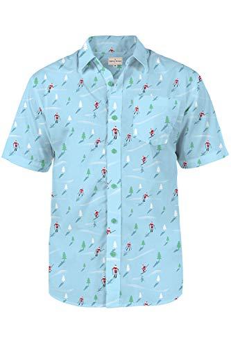 Tipsy Elves Mens Christmas Hawaiian Shirt - Warm Weather Xmas Hawaiian Shirt with Santa Claus Blue