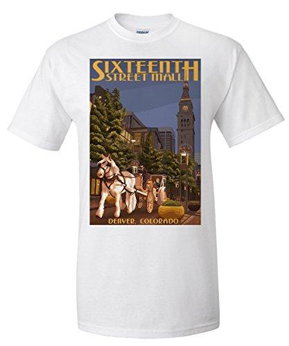 Denver, Colorado - 16th Street Mall (White T-Shirt - Malls Colorado Denver