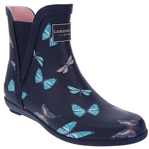(London Fog Womens Piccadilly Rain Boot Navy Butterfly 7 M US)