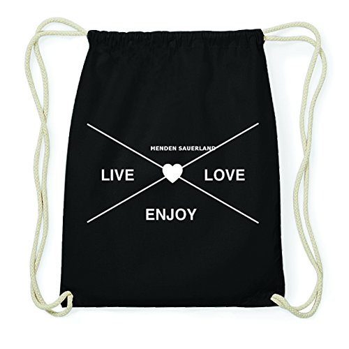 JOllify MENDEN SAUERLAND Hipster Turnbeutel Tasche Rucksack aus Baumwolle - Farbe: schwarz Design: Hipster Kreuz nyjrdnTgX