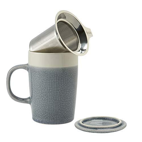 - casaWare Crackled Glaze 16-Ounce Mug with Tilt and Drip Tea Infuser (Slate Blue)