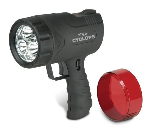 Cyclops Sirius 9W Rechargeable 300 Lumens, Hand Held Spotlight, With a Ergonomically Designed Grip and a Trigger Pulse Switch, Featuring a Always on Lock Switch, and 3 High Power White LED's for Long Range and 6 White LED's for Immediate (Sirius 9w Rechargeable Handheld Spotlight)