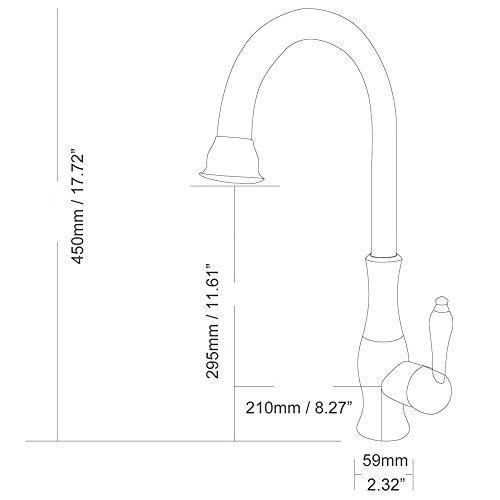 Jiuzhuo Single Handle Single Hole Solid Brass Gooseneck Kitchen Faucet Sink Mixer Tap,Oil Rubbed Bronze