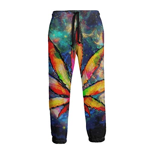 Marijuana Leaf Space Galaxy Weed Cannabis Men Women Casual Sport Jogger Pants 3D Print Sweatpants Trousers Baggy with Drawstring White (Weed Pyjamas)