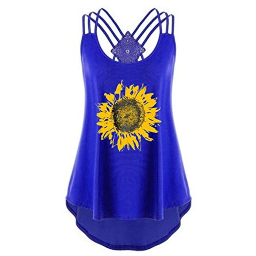 Yxiudeyyr Women Sunflower Print Bandages Sleeveless Vest Top High Low Tank Top Notes Strappy Tank Tops Blue