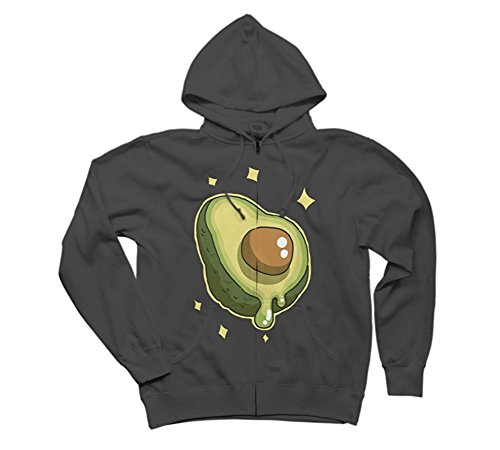 Avocado Women's 2X-Large Charcoal Graphic Zip Hoodie - Design By Humans