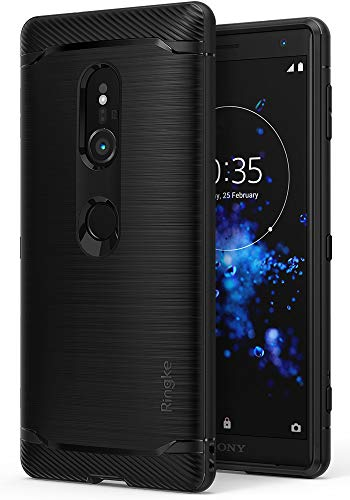 Ringke Onyx Compatible with Xperia XZ2 Case Brushed Metal Design Flexible & Slim Dynamic Stroked Line Pattern Durable Anti Slip Impact Shock Absorbent for Sony Xperia XZ2 - Black