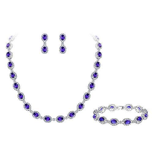 EVER FAITH Women's CZ Elegant Oval Shaped Necklace Earrings Bracelet Set Purple for Bridesmaid, Financee