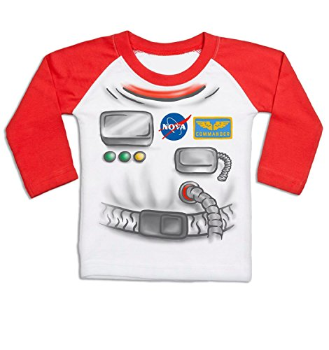 [Astronaut Costume Long Sleeve Baby Baseball T-shirt - White/Red 6/12 Months] (Spaceman Suit Costume)