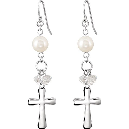 Rhodium Plate Sterling Silver Freshwater Pearl Cross Earrings by The Men's Jewelry Store (for HER)