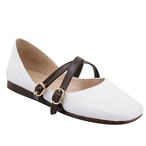 Show Shine Womens Instep Buckles Square Toe Flats Shoes White