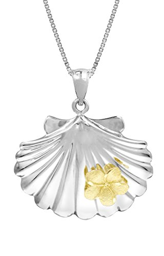 Sterling Silver and 14k Yellow Gold Seashell and Plumeria Necklace Pendant with 18