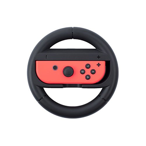 Insten Steering Wheel compatible with Nintendo Switch Joy con Hand Grip Cover Attachment [Fit both Joycon Left and Right Controller] for Mario Kart Car Racing Game , Black from INSTEN