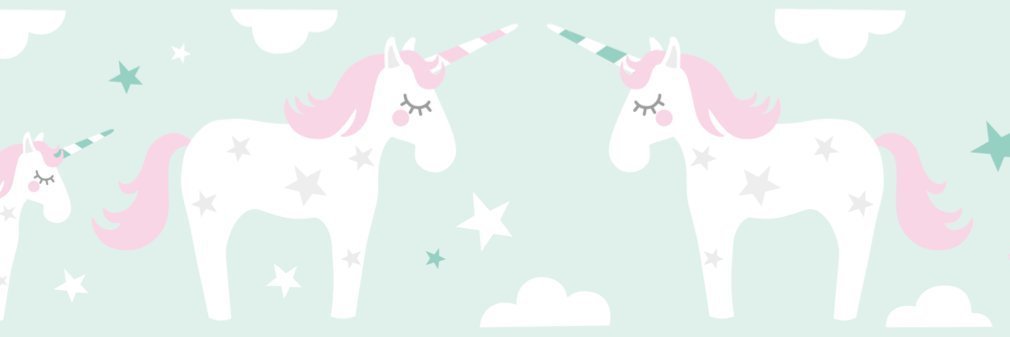 Self-Adhesive Wall Border Stickers Unicorn Wall Stickers for Childrens Playroom or Bedroom in Pink//Grey lovely label Wallpaper Border for Kids Wall Decal and Stickers for Children
