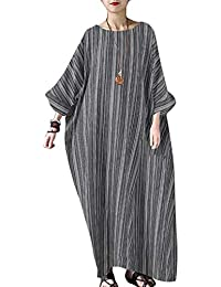 Women Summer Stripe Long Sleeve V-Neck Cotton Linen Plus Size Kaftan Dress S-