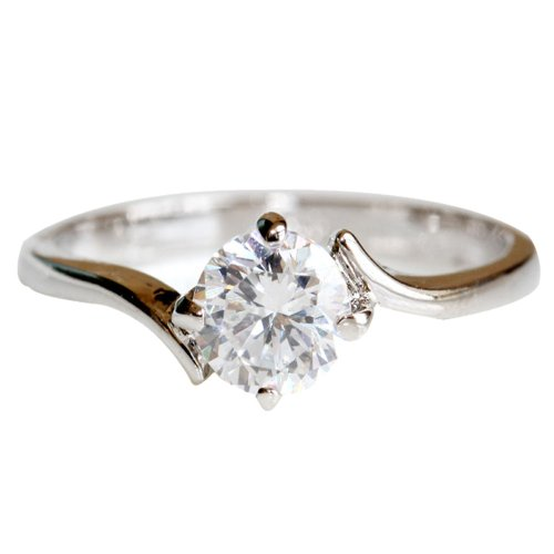 FAIRY COUPLE Christmas Gift Engagement Ring with Cubic Zirconia -4 Claw Setting (Four Claw Setting)