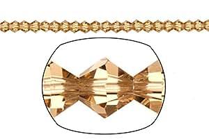 Pulsera con cuentas de cristal para, 16-facet Bicone corte, topacio, 3mm se vende por 16pulgadas Cadena