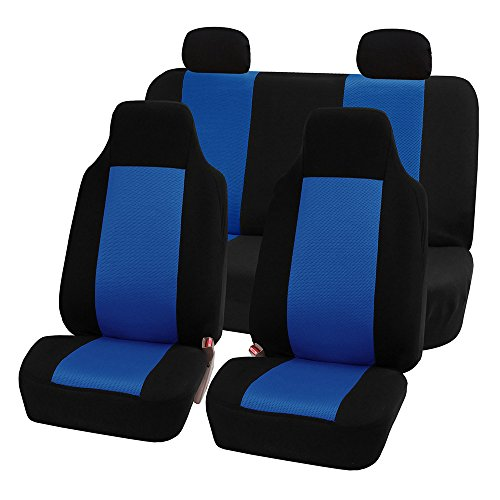 Blue Seat Cover Front (FH Group FB102BLUE114 Blue 3D Air Mesh Auto Seat Cover (Full Set))