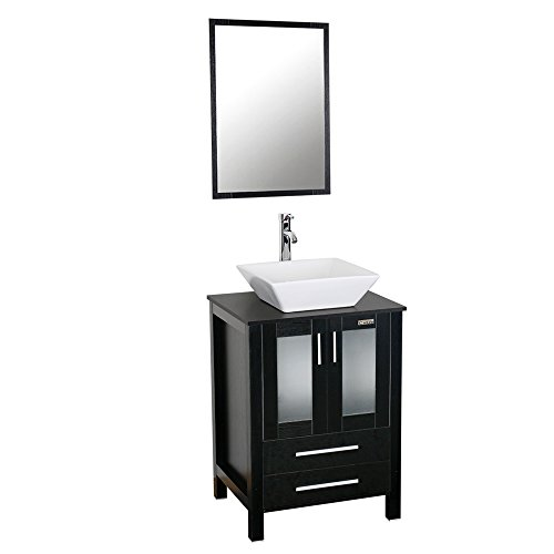 24 Inch Black Bathroom Vanity Cabinet With Square Ceramic Sink 1.5 GPM Chrome Faucet Bathroom Vanity Top With Porcelain White Sink Set, 30 Water Saving