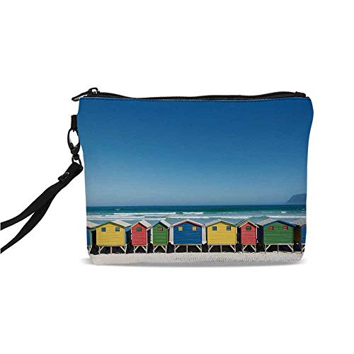 Travel Simple Cosmetic Bag,Colorful Bathhouses at Muizenberg Cape Town South Africa Standing in a Row Touristic for Women,9