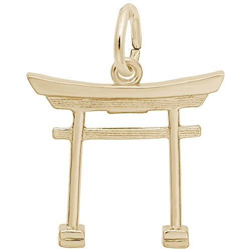 10k Yellow Gold Japanese Tori Gate Charm, Charms for Bracelets and Necklaces