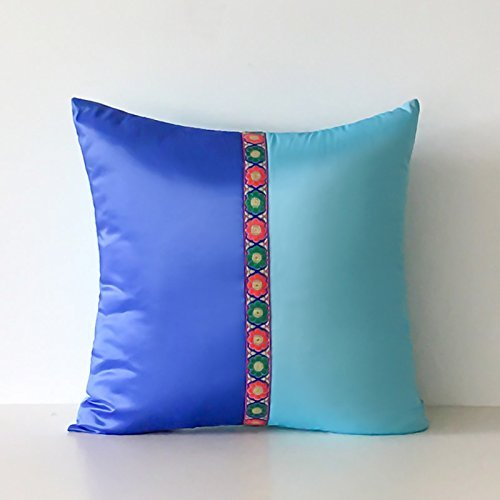 HOMEE I Love the Artist'S Original Mediterranean Living Room Blue Tower Poplin Stitching of Minimalist Solid Color Pillow Sofa Cushion ,30X50Cm, Birds Blue,Blue,50X50cm