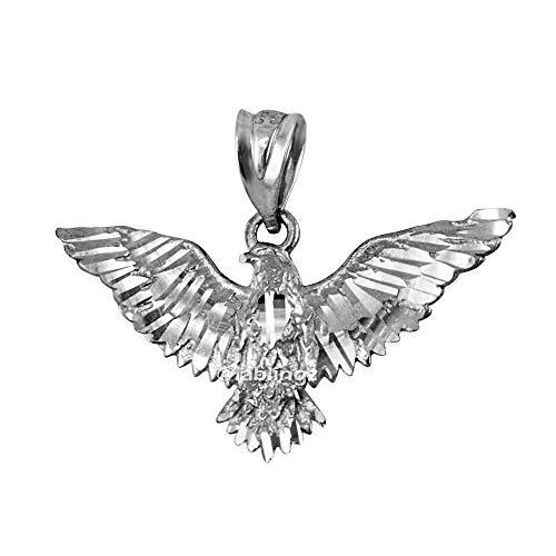 LA BLINGZ 14K White Gold Falcon Eagle DC Charm Pendant