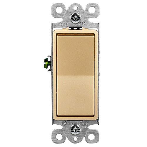 (ENERLITES Elite Series Decorator Rocker Light Switch, 15A 120V/277V, Single Pole, 3 Wire, Grounding Screw, Residential Grade, UL Listed, 91150-GD, Gold Color)