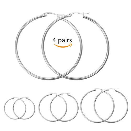 Calors+Vitton+4+Pairs+a+Set+Stainless+Steel+Large+Hoop+Earrings+for+Women+30-60mm+Silver+2