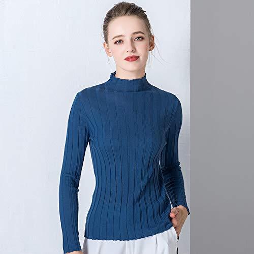 Maglione Colore Inverno Slim Abbigliamento Maniche Solido Sezione Lunghe Vioy Alta Maglia Camicia Blu A Femminile Autunno Corte E In a16vBOqwv