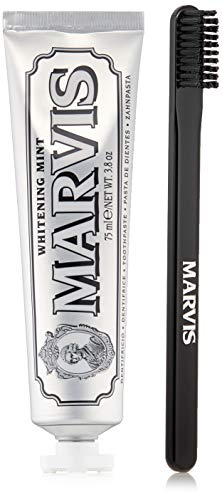 Marvis Toiletries Bag with Whitening Mint Toothpaste and Toothbrush in Zip Pouch, 0.5 lb.