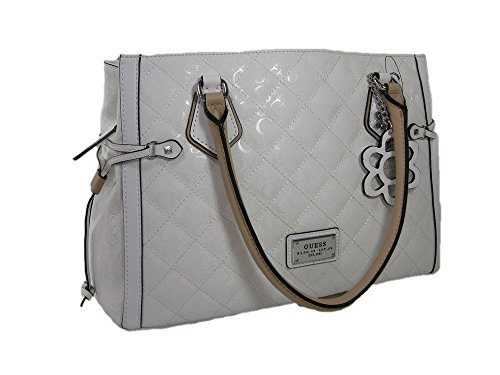 New Guess G Logo Embossed Purse Satchel Hand Bag White Patent Glossy Star City