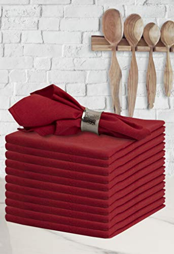 Glamburg Cocktail Napkins in Cotton Solid Color Fabric 18X18 Red,Wedding Napkins,100% Cotton Cloth Napkins,Dinner Napkins,Cloth Napkins,Fabric Napkins,Cloth Napkins Set of 12,Machine Washable (Cotton Napkins Red)