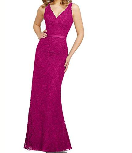 V Pink Spitze Damen Navy Charmant Blau Brautjungfernkleider Lang Ausschnitt Abendkleider Promkleider Etuikleider OwIqP