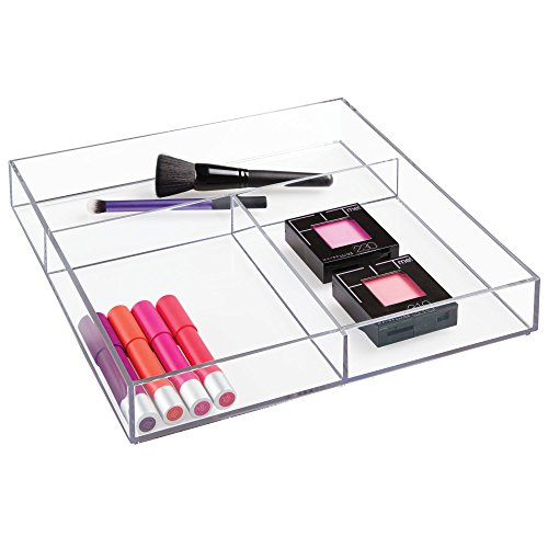 """InterDesign Clarity Plastic Divided Organizer Tray, Storage Container for Vanity, Bathroom, Kitchen Countertops or Drawers, 12"""" x 12"""" x 2"""", Clear"""