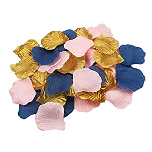 ALLHEARTDESIRES 900 Pack Pink Navy Blue Gold Party Table Confetti Artificial Flower Rose Petals Nautical Baby Shower Wedding Birthday Decoration Scrapbooking Craft Sewing Flower Girl Basket Decor 17
